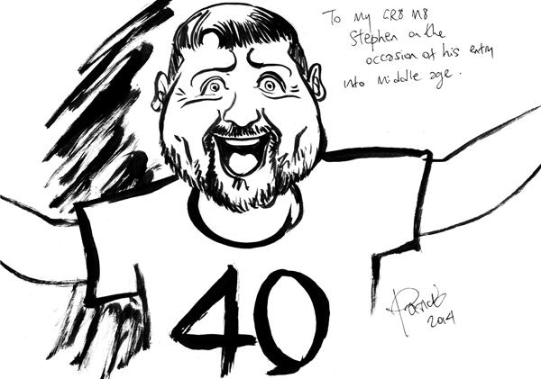 Stephen McCartney 40th birthday caricature