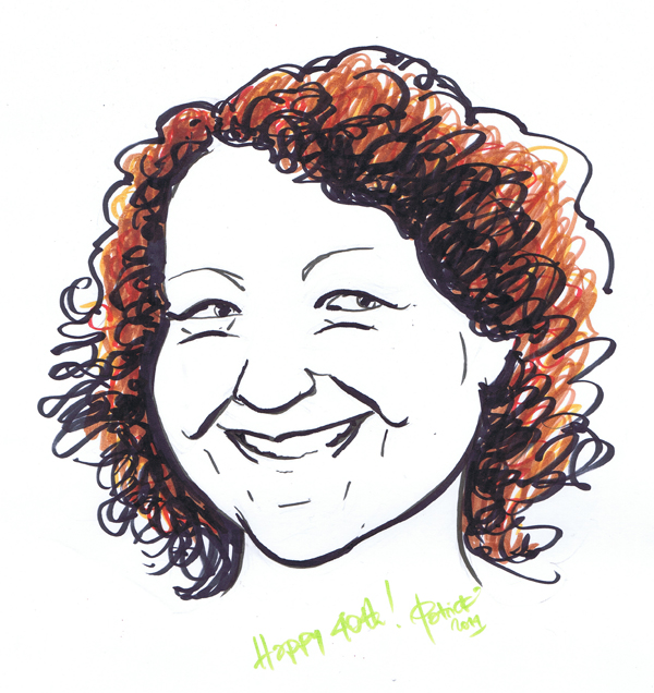 Louise Brown 40th birthday caricature